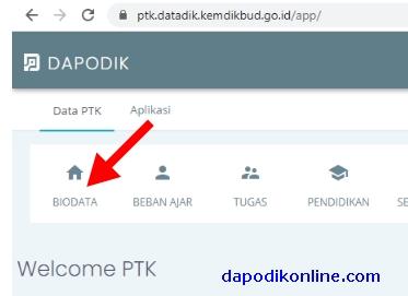 Klik menu Biodata