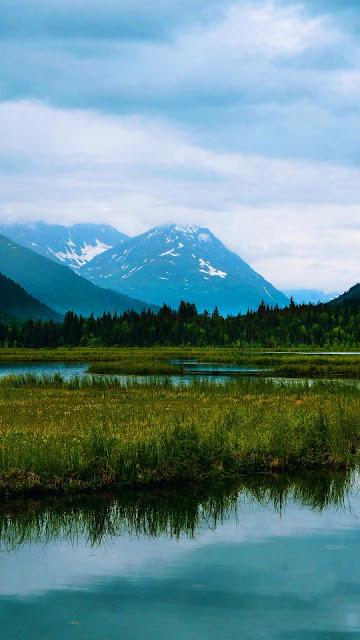 Wallpaper lake, mountains, forest, landscape