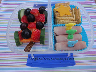 Fruit wagon, ham roll ups, bento school lunches