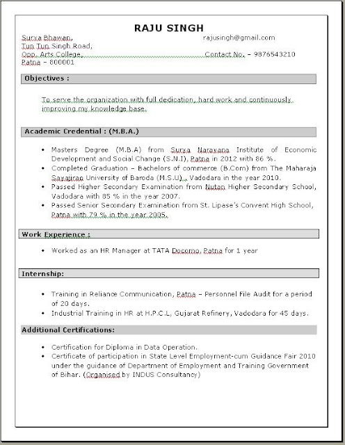 mba hr resume in doc