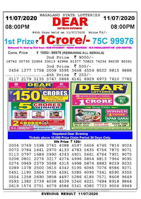 Nagaland State Lotteries 11-07-2020 Lottery Sambad Result 8:00 PM