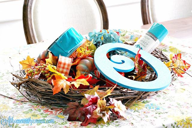 decorating-fall-wreath-harvest-blue-orange-ribbon