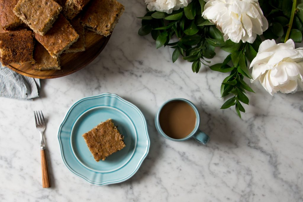 Banana bread on a pretty aqua plate