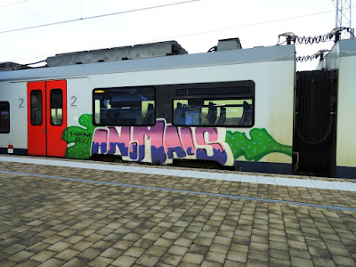 Train et graffiti le long des voies