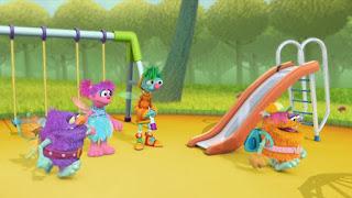 Abby Cadabby, Blögg, Gonnigan, Abby's Flying Fairy School Playground Troll, Sesame Street Episode 4402 Don't Get Pushy season 44