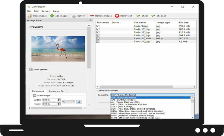 Converseen : Περιστρέψτε,  αναστρέψτε και μετατρέψτε άπειρο αριθμό εικόνων με ένα κλικ