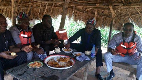 Photos: Benue governor pictured eating at a community kitchen