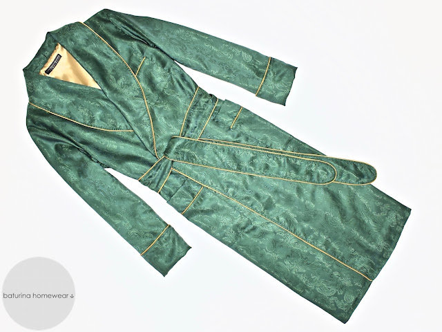 Mens green paisley silk robe luxury dressing gown long lightweight lined