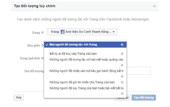 Tao doi tuong tuy chinh tren facebook