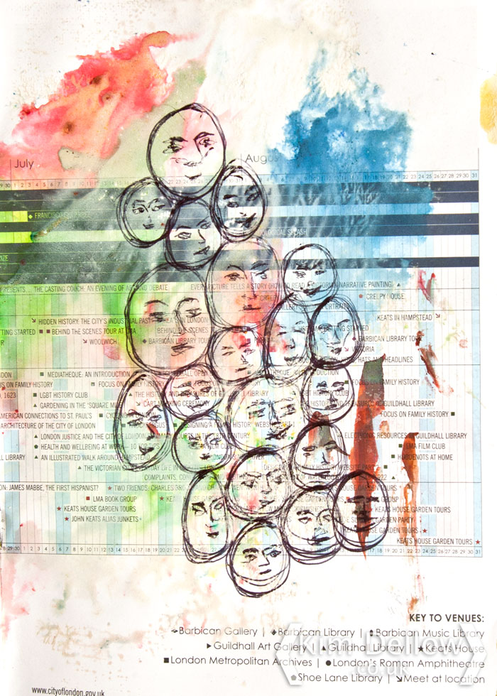 A crowd of doodle face by Kim Dellow for Show Your Face