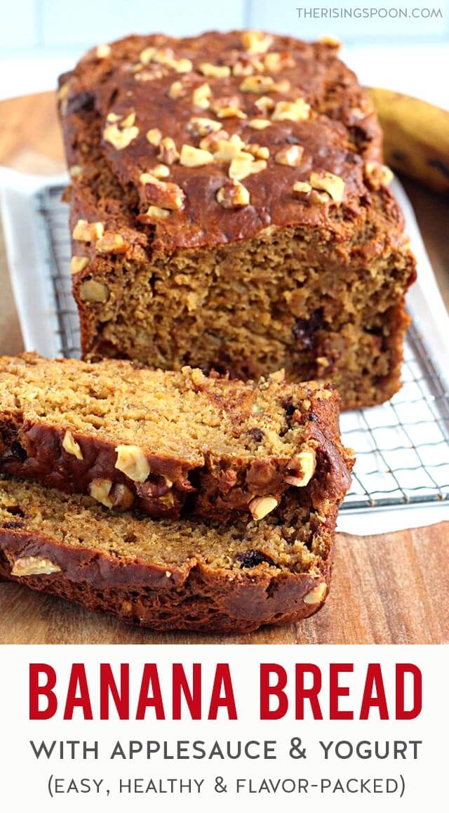 An easy recipe for cozy banana bread made with unsweetened applesauce & plain Greek yogurt (no oil) + fresh orange zest and juice, chopped nuts & dark chocolate chips. Cut it into thick slices & store it in the fridge or freezer for a healthy, fragrant & flavor-packed snack any time of the day. (gluten-free & dairy-free option)