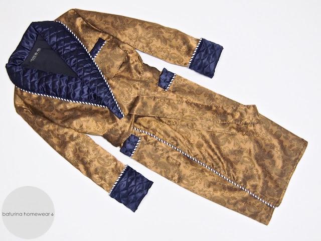 mens gold silk dressing gown gentleman navy blue quilted silk shawl collar paisley robe long lightweight