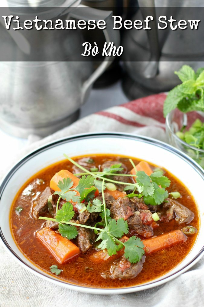 Vietnamese Beef Stew, or Bò Kho, is a delicious stew of beef and root vegetables flavored with unexpected amazing herbs and spices.