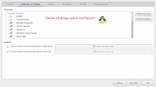 Configure o Synaptic o tamanho do arquivo