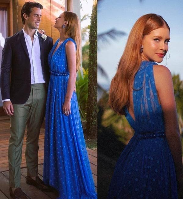 Marina Ruy Barbosa vestido de festa longo azul poa bolinhas