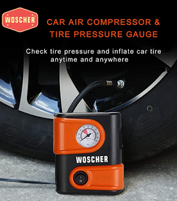 Woscher 1610 Portable Mini Tyre Inflator to Inflate your Car tyre, Bike and scooter tyre