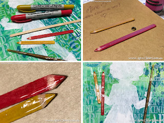 art journal page wip showing how to make pencils with collage by Jenny James