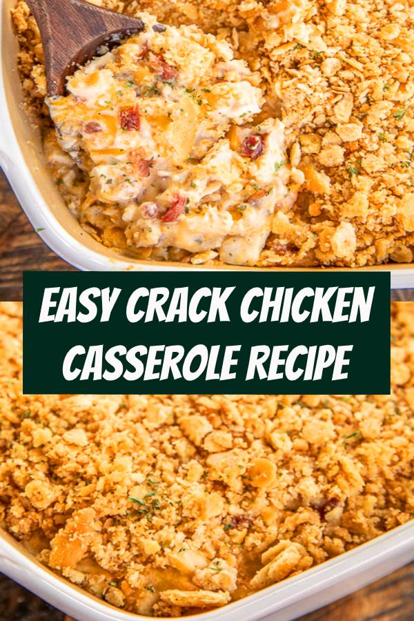 Easy Crack Chicken Casserole - creamy chicken casserole loaded with cheddar, bacon and ranch. Use a rotisserie chicken for easy prep! Chicken, cheddar, bacon, ranch seasoning, sour cream, cream of chicken soup. The whole family LOVED this easy chicken casserole. It is already on the menu again this week! #chicken #casserole #crackchicken #chickenrecipe #dinner #chickencasserole