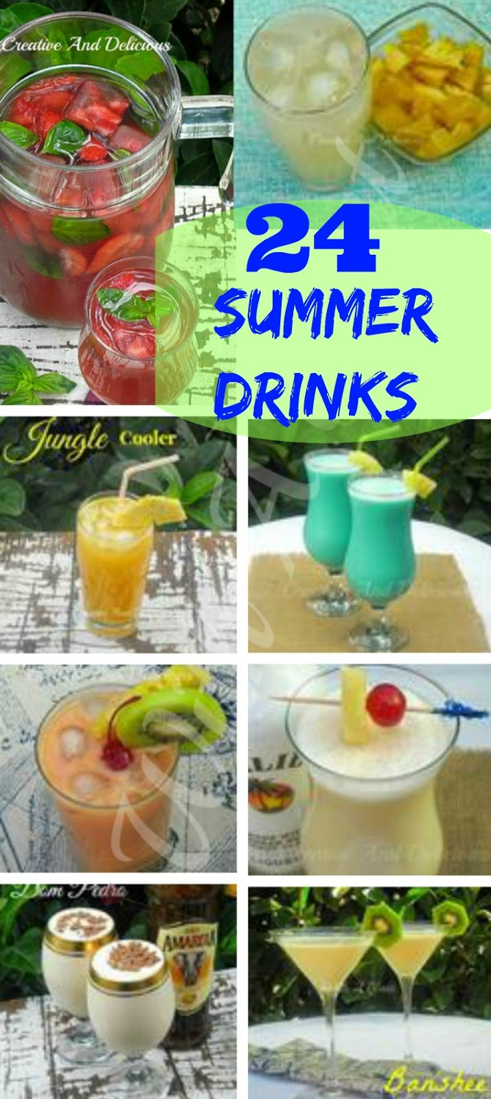 24 Summer Drinks ~ This Thirst Quenching Collection includes #Milkshakes #Smoothies #Cocktails #AlcoholicDrinks #NonAlcoholicDrinks #FruitPunch