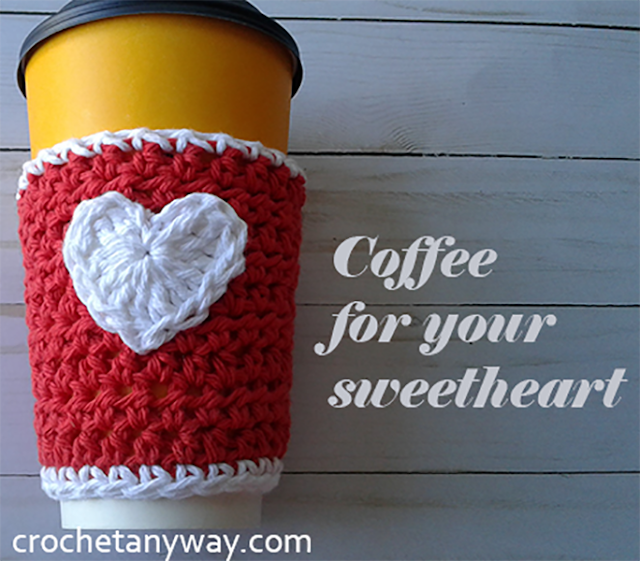 crochet coffee cup sleeve for Valentine's day