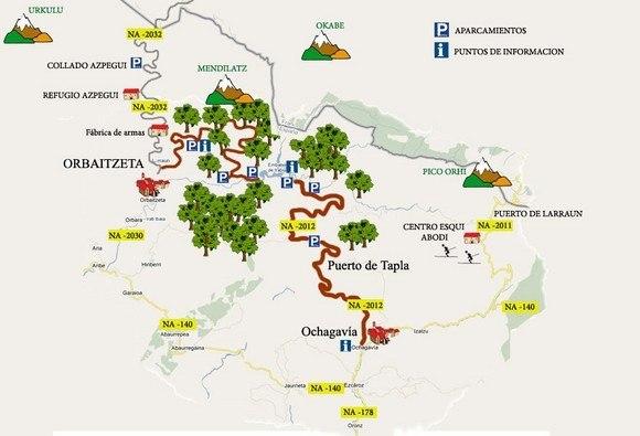 Plano con las rutas de la Selva de Irati, Navarra