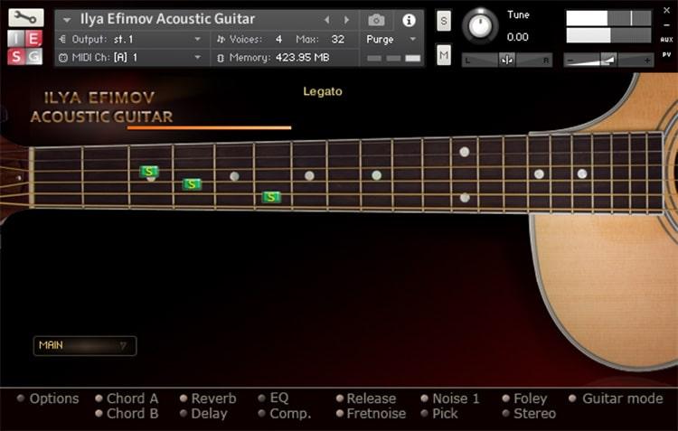 Interface da Library Ilya Efimov - Acoustic Guitar + Strum (KONTAKT)