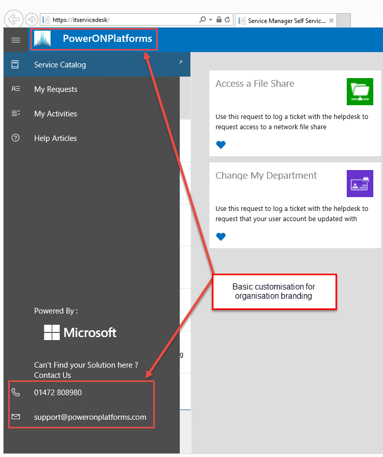 Microsoft System Center Suite  Customising The Service