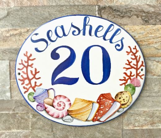 Ceramic Coastal House Plaque Signs
