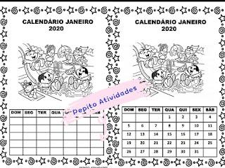 Calendários para colorir e imprimir de Janeiro do ano 2020 ilustrado com a Turma da Mônica