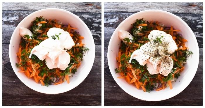 Making carrot & dill coleslaw - step 3 - mayo & seasoning