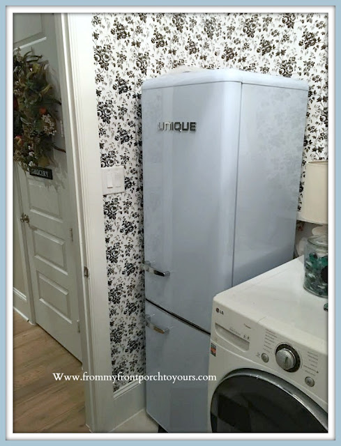 Farmhouse Cottage Style Laundry Room Makeover-Blue Retro Fridge-From My Front Porch To Yours