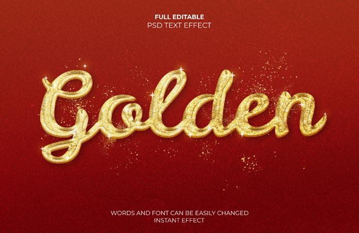 Golden Text 3D Effect With Grunj Mockup Psd Template