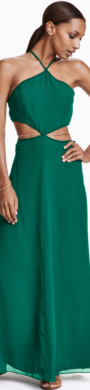 H&M Chiffon Maxi Dress Green