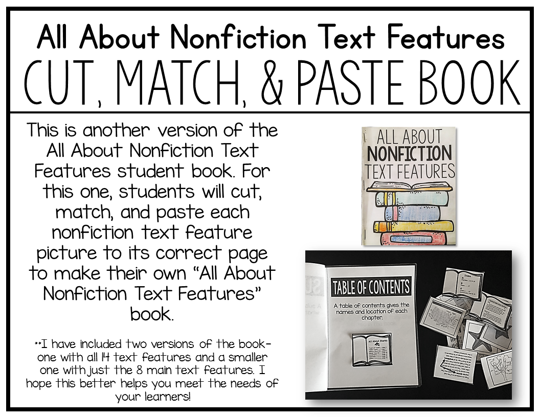 Non-Fiction Text Features Practice by Jen Francis-Dix | TpT