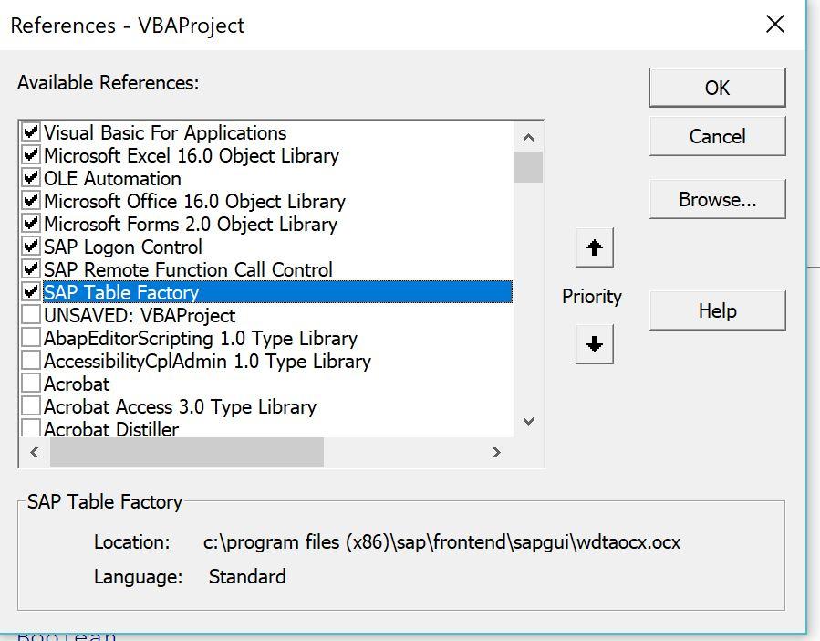 Excel VBA connect SAPRFC