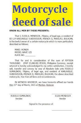 motorcycle deed of sale sample, motorcycle deed of sale sample format, motorcycle deed of sale 2020, deed of sale of a motorcycle,