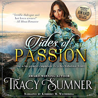 Tides of Passion audiobook cover. A pretty young woman in a voluminous gown sitting on rocks by the sea.