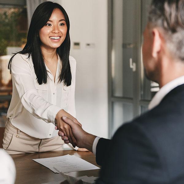 Shaking hands in job interview