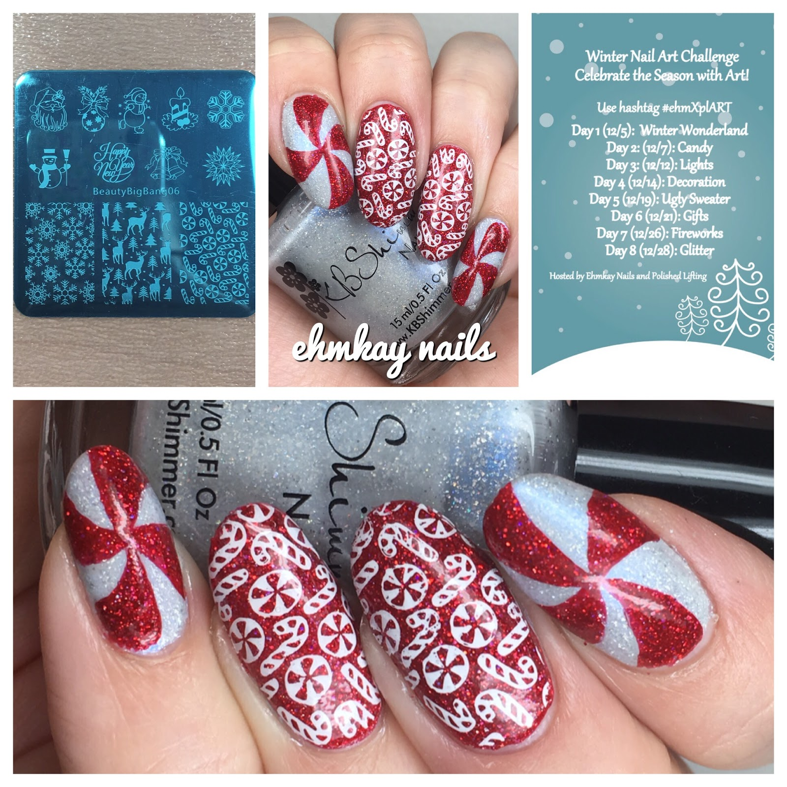 ehmkay nails: Winter Nail Art Challenge: Candy Canes and Peppermint ...