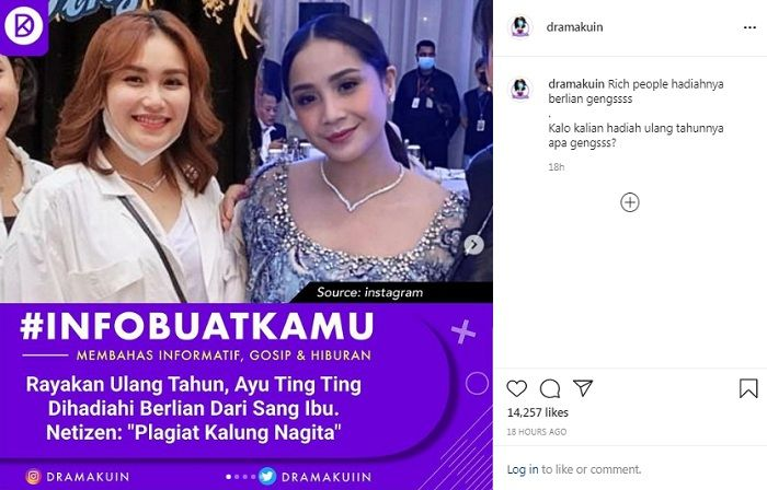 Kalung berlian mewah hadiah ulang tahun Ayu Ting Ting dituding mirip punya Nagita Slavina. (Instagram @dramakuin)