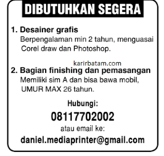 Lowongan Kerja Media Printer Batam (Januari 2021)