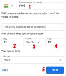mo number date of birth gender select kar next par click kare
