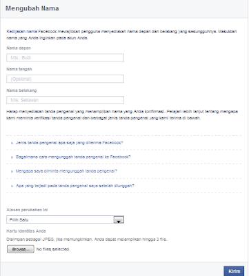 cara ganti nama facebook yang sudah limit