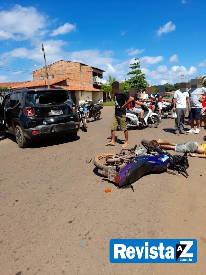 Motociclista fica ferido após bater na traseira de carro em Esperantina-PI