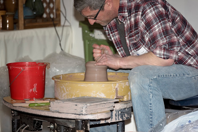 Potter at work at Get Behind The Arts 2017. Photo credit Barb Thompson Photography.