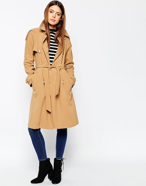 asos camel trencoat, long length trench coat, camel trench coat mid length,