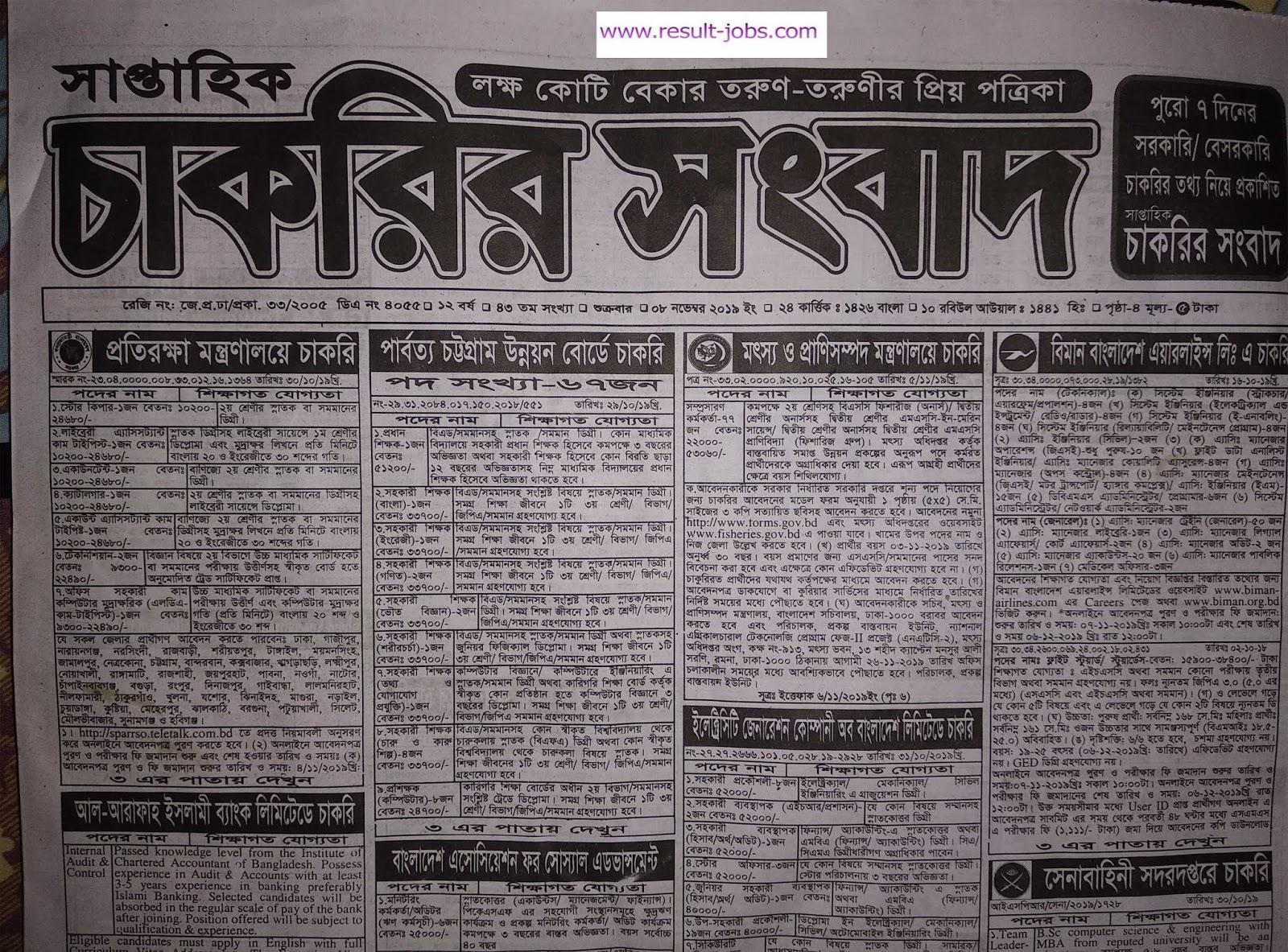 weekly chakrir khobor bangla newspaper 8 November  Saptahik Chakrir khobor potrika