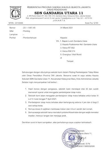 Surat Pemberitahuan Sekolah Tatap Muka - SDN Gandaria Utara 11