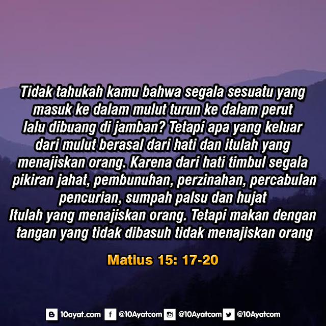 Matius 15: 17-20
