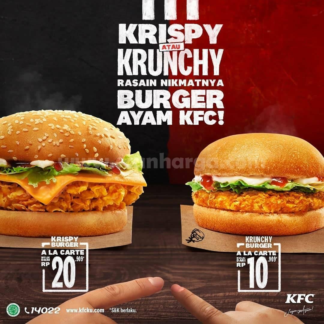 KFC KRISPY dan Menu Baru KRUNCHY BURGER! Harga mulai 10Ribuan